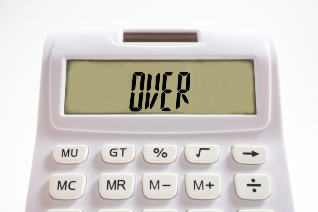 Calculator screen showing 'over'