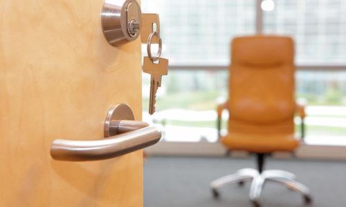 Office door with key in lockset
