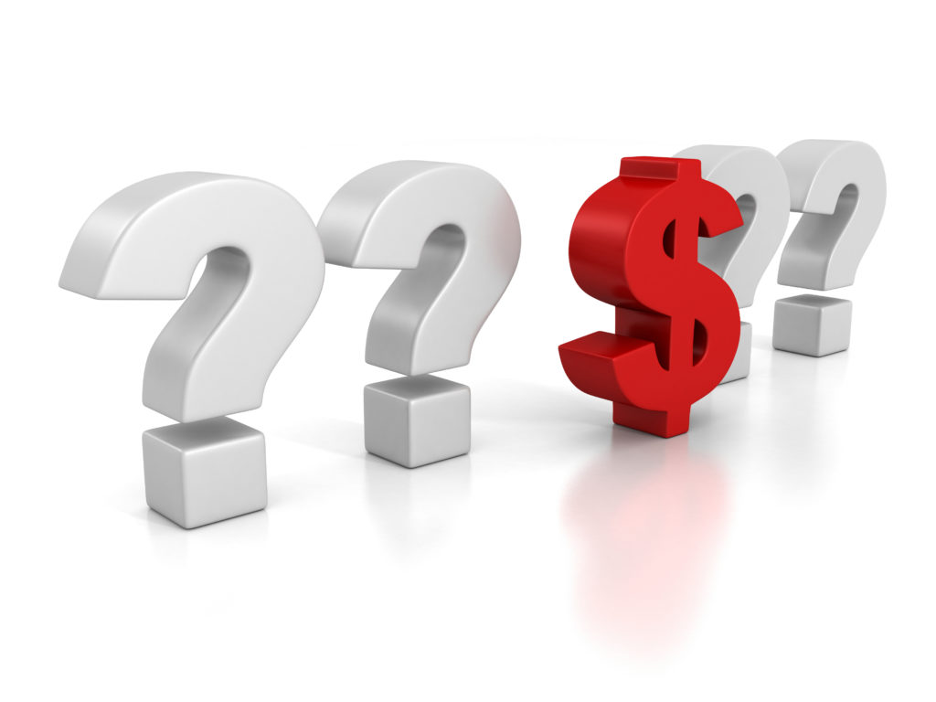 dollar sign with question marks