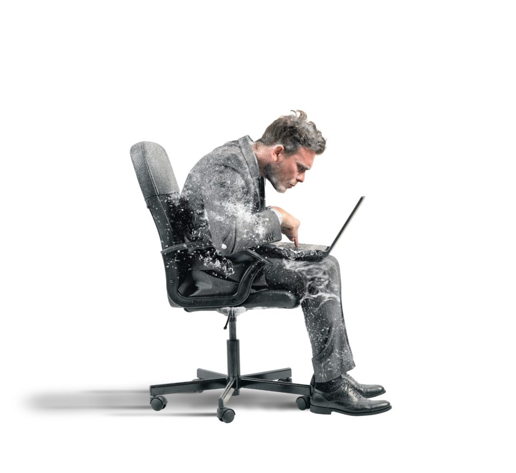 office worker frozen in chair